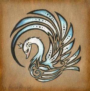 Royal swan - tattoo design