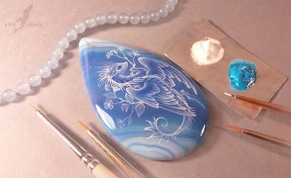 Blue flower dragon by AlviaAlcedo