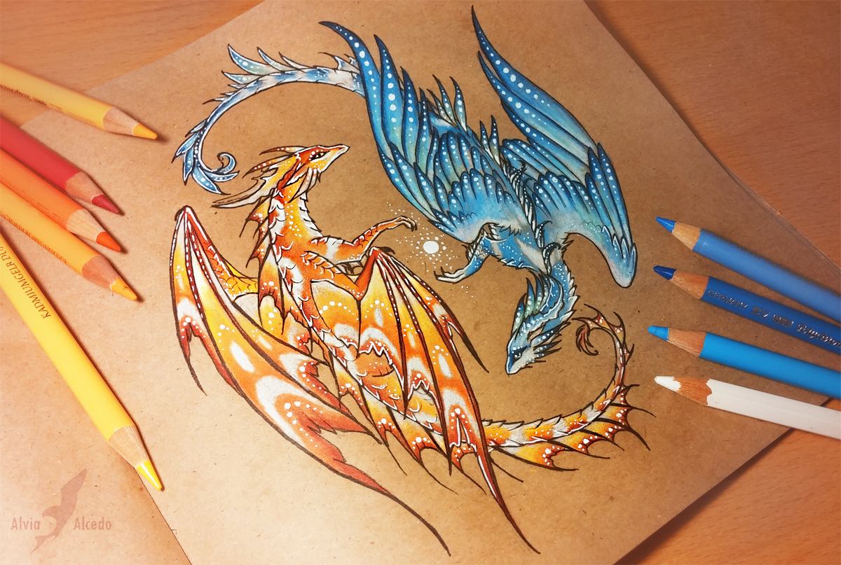 Balance of water and fire by alviaalcedo on deviantart for Dragon fire tattoos