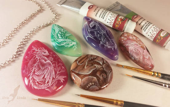 Dragon stone paintings