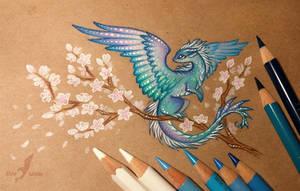 Azure  sakura dragon by AlviaAlcedo
