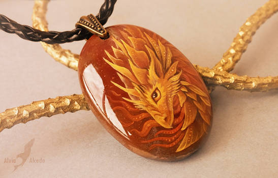 Fire dragon - stone painting