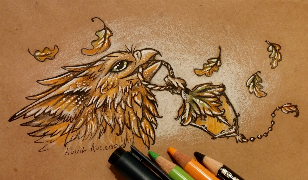 Gryphon with oak lantern by AlviaAlcedo