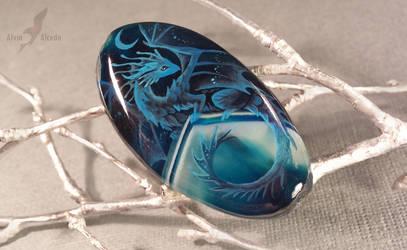 Night sea dragon - stone painting