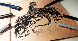 Night raven dragon by AlviaAlcedo