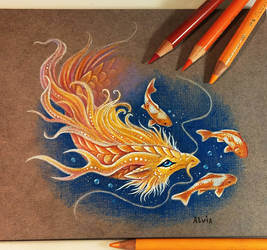 Golden koi dragon