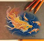 Golden koi dragon