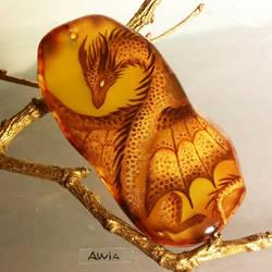 Golden dragon pendant by AlviaAlcedo