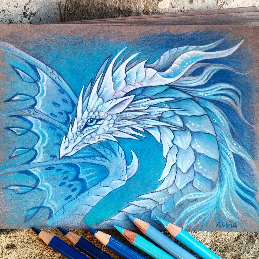 Cold white dragon by AlviaAlcedo