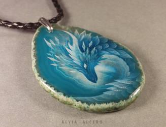Ice dragon pendant by AlviaAlcedo
