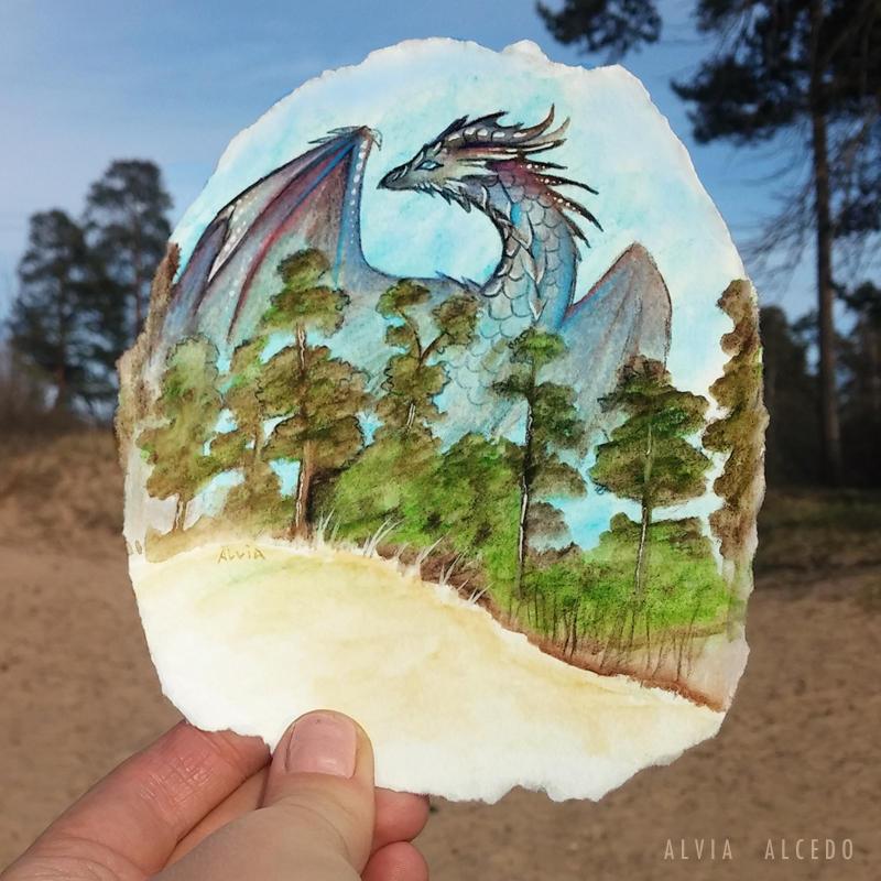 Art vs reality: Dragon above the trees by AlviaAlcedo