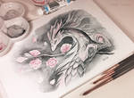 Cherry blossom spring dragon
