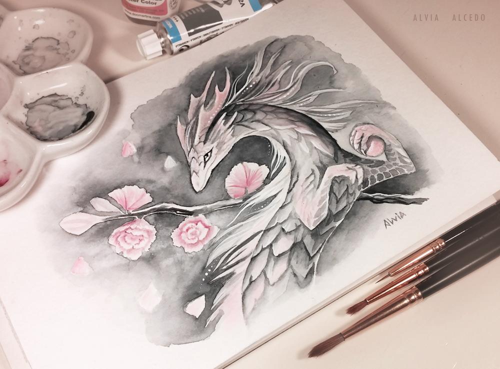 Cherry blossom spring dragon by AlviaAlcedo