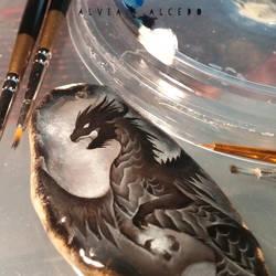 WIP black dragon by AlviaAlcedo