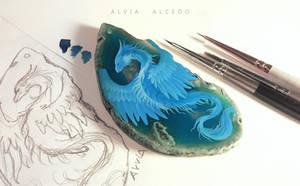 WIP sky blue dragon by AlviaAlcedo