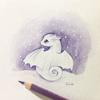 Tiny Dragon In Snow