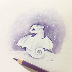 Tiny Dragon In Snow by AlviaAlcedo