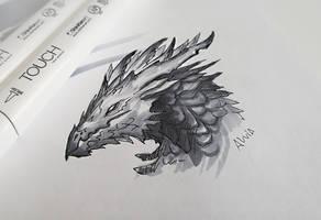 Sketch of a grey dragon by AlviaAlcedo