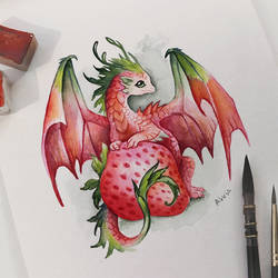 Strawberry dragon by AlviaAlcedo