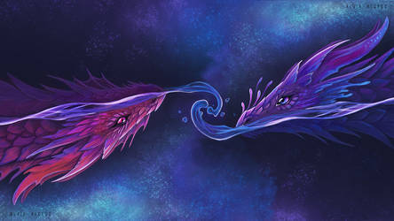 Night  space dragons by AlviaAlcedo