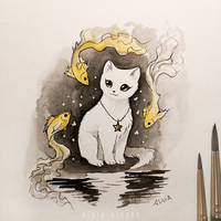 Inktober 6 Cats dreams
