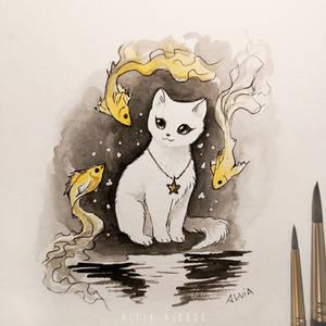 Inktober 6 Cats dreams by AlviaAlcedo