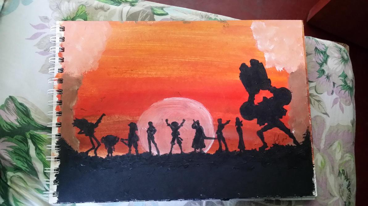 Straw Hats Sunset Acrylic Paint by jezreelian10