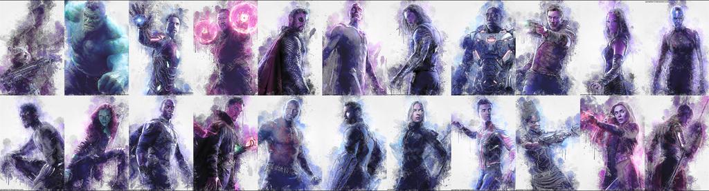 Avengers Infinity War Splatter Watercolor Artwork by jezreelian10
