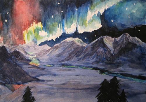 Watercolor Denali Alaskan Aurora