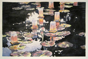 Watercolor Lanterns on the Water by Mysticalpchan