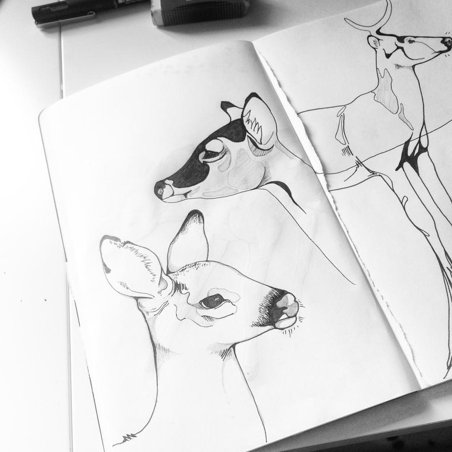 Doodlin' Deer by wispwolf