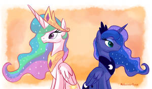 Princess Celestia and Princess Luna by Molochko-Persik