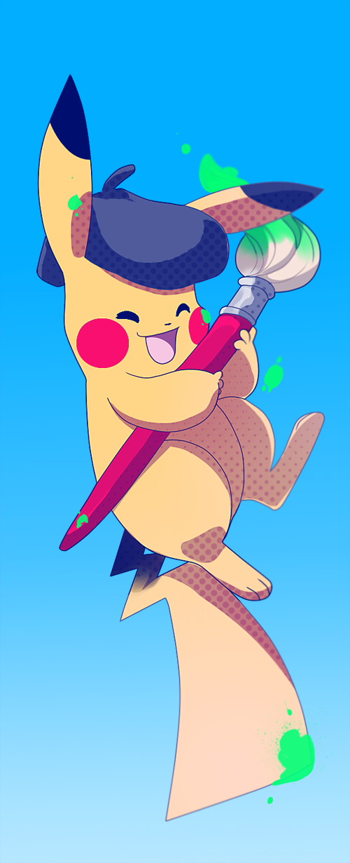 Pikachu Painter by tabby-like-a-cat
