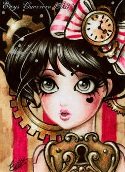 Magical steam girl. ACEO