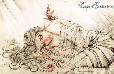 Broken Wings Line art Commission by EnysGuerrero