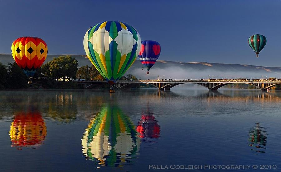 Hot Air Balloons-Morning Mist by La-Vita-a-Bella