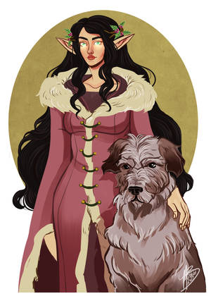 Luthien and Huan by naomimakesart