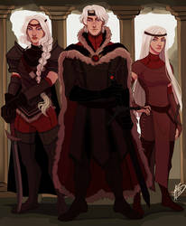 Aegon, Visenya and Rhaenys by naomimakesart