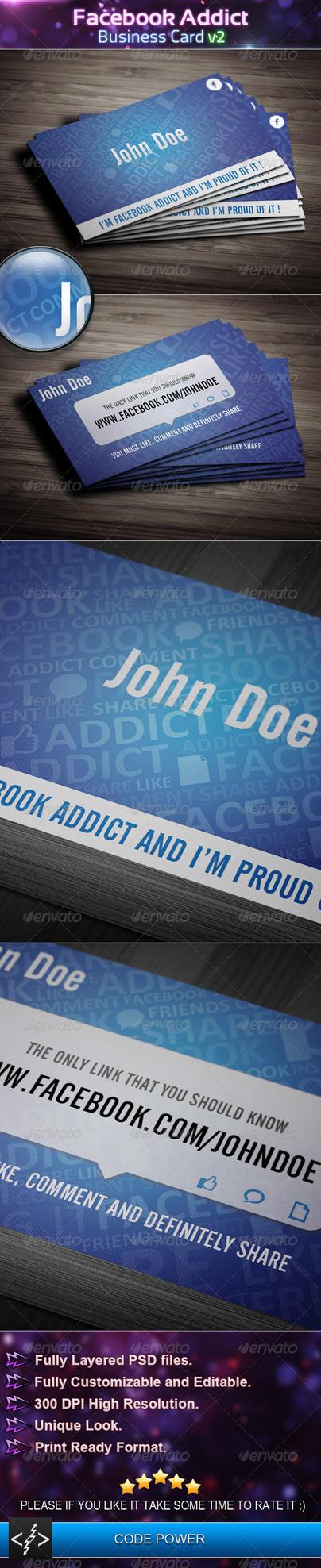 Facebook Addict Business Card v2 by khaledzz9