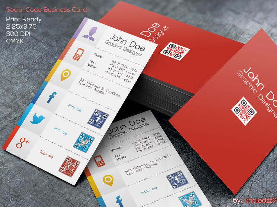 Social Code Business Card by khaledzz9 on DeviantArt