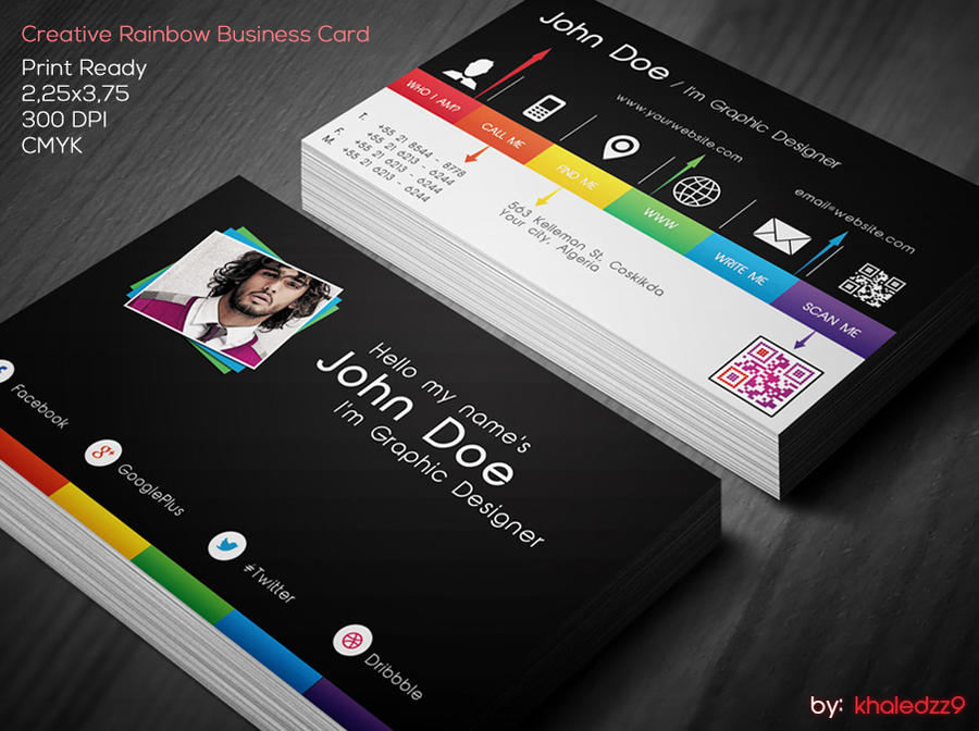 Famous business card creative elaboration business card ideas creative rainbow business card by khaledzz9 on deviantart reheart