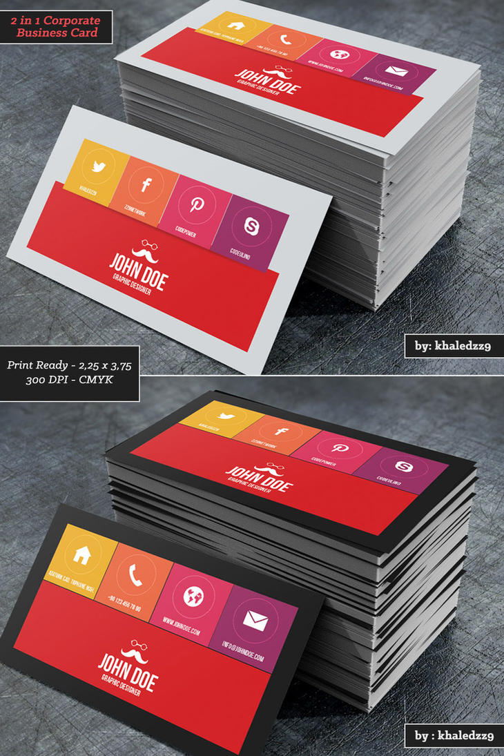 2 in 1 Corporate Business Card by khaledzz9