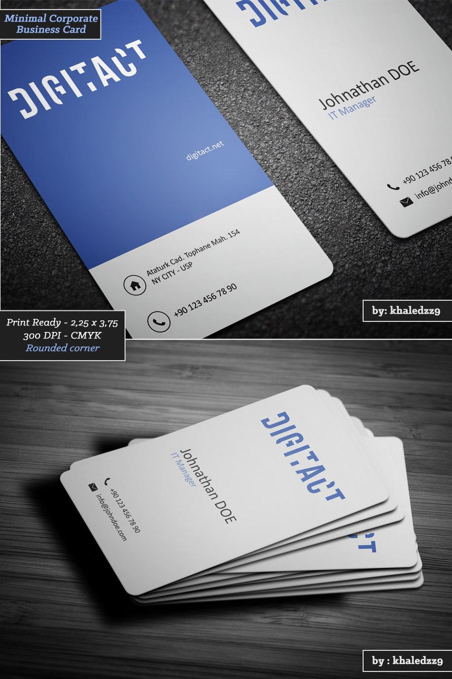 Minimal Corporate Business Card by khaledzz9