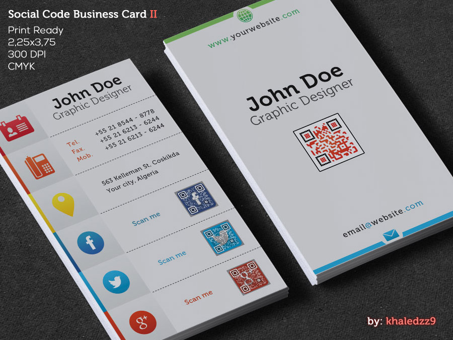 Social code business card ii by khaledzz9 on deviantart for Create qr code business card