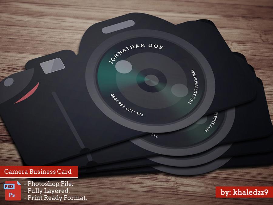 Flat Camera Business card by khaledzz9