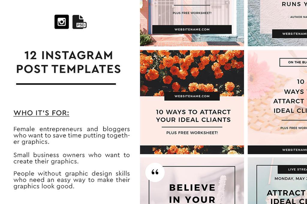 12 Instagram Post Templates by khaledzz9