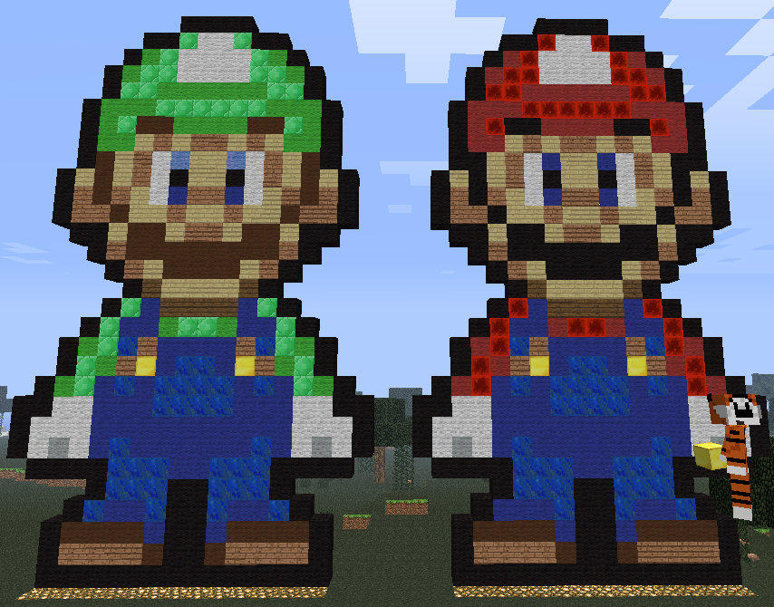Mario And Luigi Minecraft Pixel Art By Cei By Hezah On