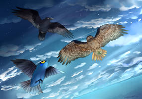 Three Birds and the Sea by StoryBirdArtist