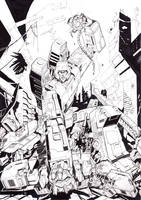Megatron vs Sentinel with background