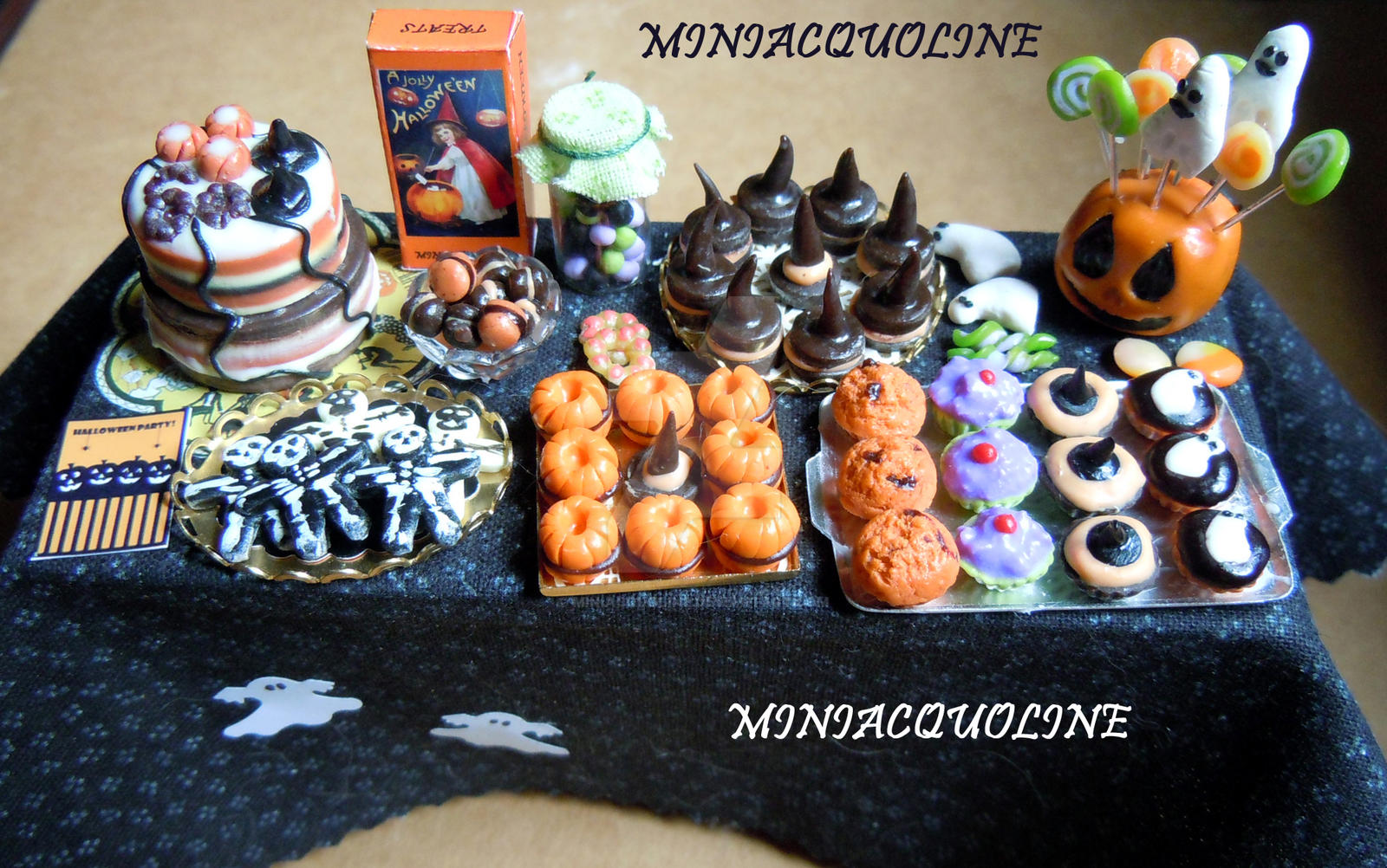 big halloween party table dollhouse miniature by miniacquoline
